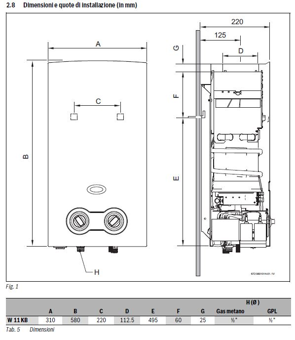 Scaldabagno a gas junkers hydrobattery therm t2200 11 23 19 2 kw metano - Montaggio scaldabagno a gas ...