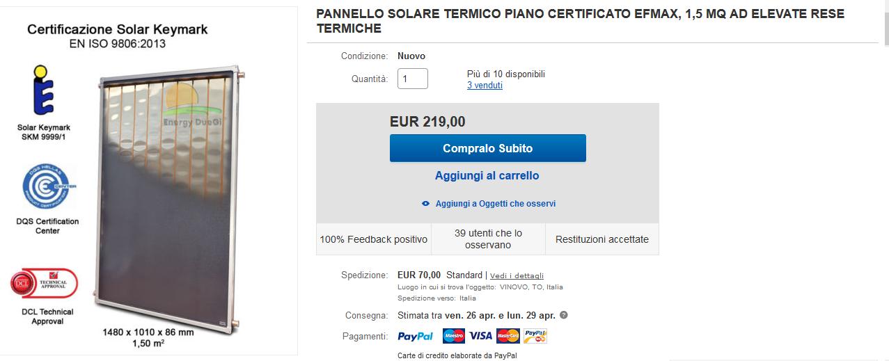 solare termico ebay e amazon